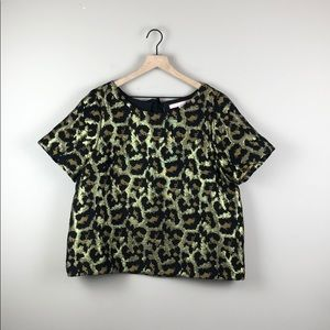 Anthropologie Hutch Leopard Gold Metallic Top (XL)